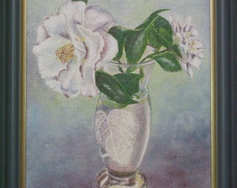 Oil painting camellias