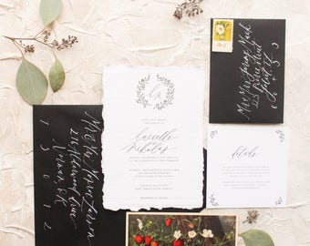 Elegant Black Floral Initial Wreath Calligraphy  Wedding Invitation // Available in Letterpress or Gold Foil