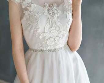 VIRINEA//tulle wedding dress with embroidery top / Bohemian wedding dress hand embroidery short sleeves wedding dress tulle skirt
