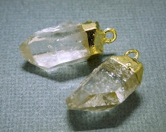 SALE Crystal Quartz Point Pendant-- Petite Crystal Quartz Charms Pendants with Gold Plated caps-- 1 PAIR (S20B2-03)