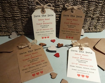 60 Handmade Kraft Brown/Cream Personalised Vintage Save the Date Luggage Tags Typewriter Font