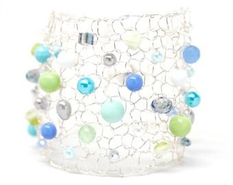 Colorful Bracelet Beaded Bracelets Arm Cuff Bracelet Summer Jewelry Statement Bracelet Lime Green Turquoise Bracelet Handmade Jewelry Gift