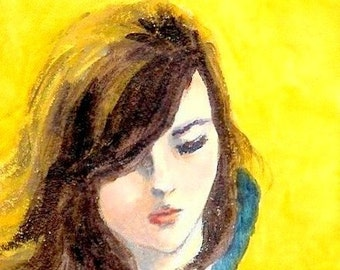 "beautiful woman painting ""A Girl's Hair Is Shining""  sad girl, sad woman painting, home room wall decor, A4 print, 6x8 print, 8x10 print"