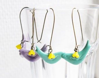 Mint green / Lilac purple ceramic bird earrings,porcelain earrings,ceramic jewellery,porcelain jewellery,pretty gift,Christmas gift,cute
