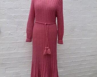 Dress crochet knit 80s vintage hippie dress festival clothing boho dress indie dress urban knit ecofriendly chunky dress handmade vintage uk