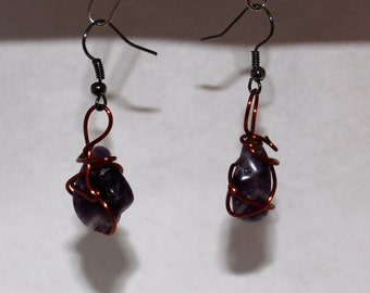 Purple Stones With Copper Wire Wrapped Dangle Earrings