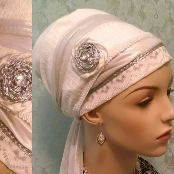 Beautiful Shabbat cotton and lace sinar tichel with silver accents, head wrap, head scarf, Jewish hair covering, hair snood, apron