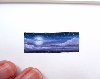 Misty Full Moon Miniature, 8x10 Matted Giclee Print, Tiny Art