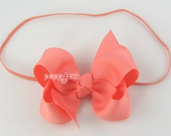 "Baby Headband, coral headband, toddler headband, 3"" 3 inch bow headband, newborn headband, infant headband, skinny elastic girls headband"