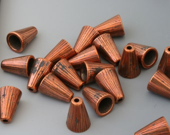 Jewelry cones. Tierracast cones. Radiant copper. 20 pieces.
