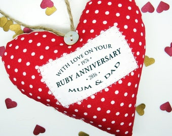 Ruby Wedding 40th Anniversary Gift - Personalised Heart Made in Your Choice of Fabric. Supplied Gift Boxed.