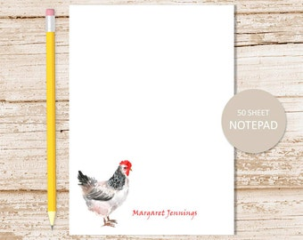 personalized notepad . chicken notepad . watercolor chickens note pad . farm . personalized stationery stationary