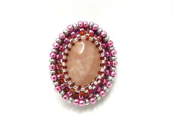 Rose quartz and embroidered beads, brooch boho brooch, brooch boho embroidered