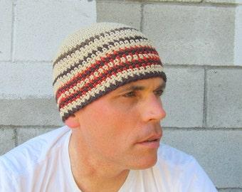 Bonnet de coton pour hommes / kaki bande au crochet