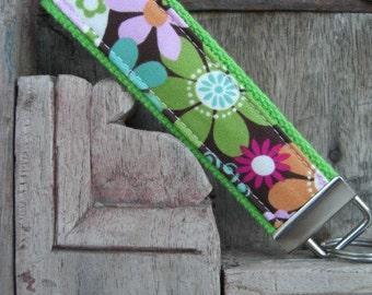 READY TO SHIP-Beautiful Key Fob/Keychain/Wristlet-Wild Flowers on Lime