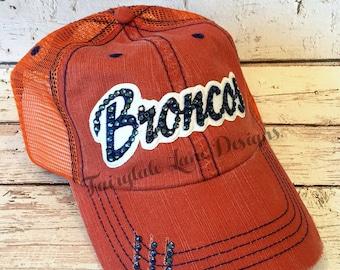 BRONCOS Bling Hat - Distressed Trucker Cap- Broncos Football - Swarovski Rhinestones