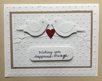 Wedding card, congratulations card, couple card, love birds, tied the knot card, handmade wedding card, wedding cards, love, happiness,