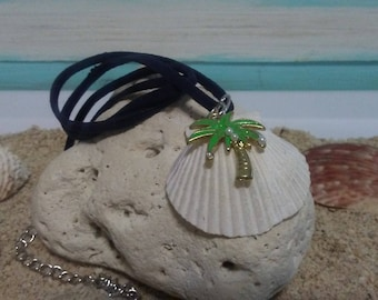Navy Blue Suede Necklace with Pearl Palm Tree/Diamond Flamingo Scallop Sea Shell Nautical Jewelry