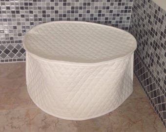 White Oval Crock Pot Covers White Kitchen Quilted Fabric Small Appliance Cover 6 Quart Made To Order