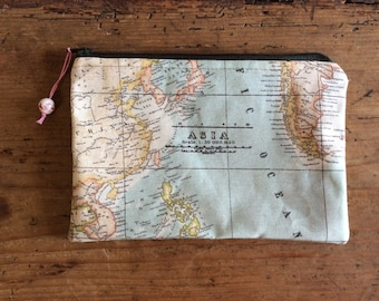Zipper pouch - flat, fully lined cotton pouch for cosmetics, school pencils, bits and bobs, money. World map outer and bright stripy lining