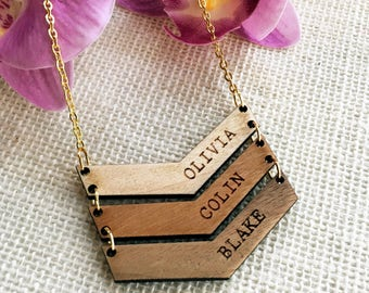 Personalized Chevron Mother Necklace - Stocking Stuffer - Wooden Chevron - Wood Necklace Custom Children Name - Jewelry Gift for Mom