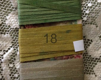 Hand dyed 4mm silk ribbon Greens 6 yards