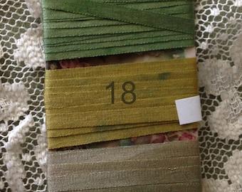 Hand dyed 4mm silk ribbon Greens 6 yards