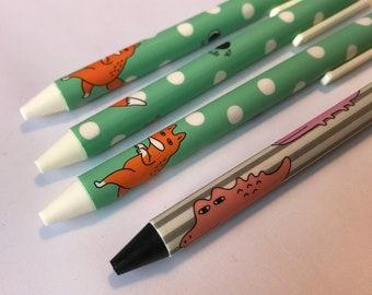Animal Pen, Fox Pen or Dinosaur Pen, Novelty Pen, Cute Kids Pen, Push Pen