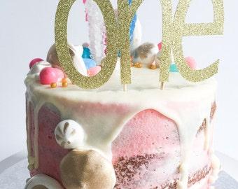 One Cake Topper • Birthday Cake Topper • Gold Glitter Topper • Smash Cake Topper • Number Cake Topper • First Birthday