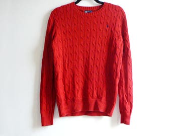 90s Ralph Lauren Sweater - Vintage Red Cable Knit Polo Knit Sweater - Women's L