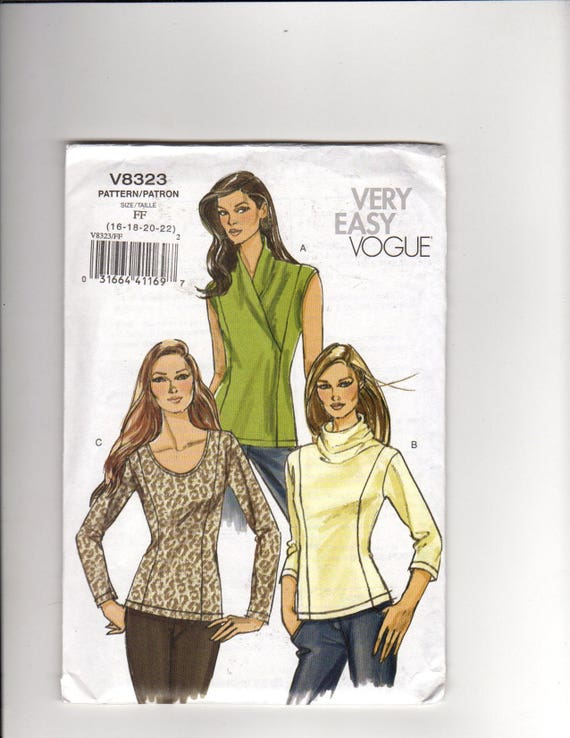 Vogue v8323- Misses\'s petite tops sewing pattern:Knit tops w ...