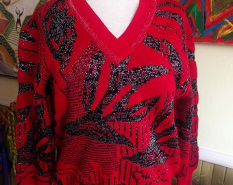 80s Abstract Sweater/Red & Black V Neck/Silver Metallic Thread/Glitzy Sparkle/Acrylic/Funky Boho