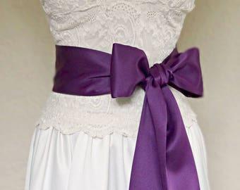 Purple Simple Bridal Matte Satin Sash, 2 or 3 inch Wide Bridesmaids Sash, Purple Flower Girl Sash