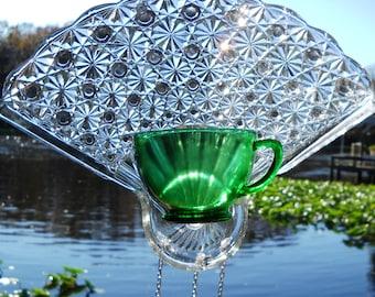Depression Glass Wind Chime, Vintage Tea Cup Suncatcher with stained glass windchimes, Glass Yard Art, Garden Decor, Unique Window Treatment