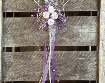 Gold and purple flowergirl wand - star bridesmaids wand - childs bouquet - purple bridesmaid - young bridesmaids wands
