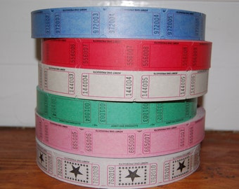 Blank Tickets 6 colors you choose your combination........75 tickets