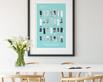 BETTE DAVIS poster, Now, Voyager, 'Charlotte Vale' all her looks, Minimalist Movie poster, fashion print wall art, mother gift from daughter