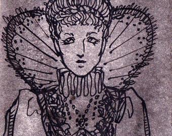 Grey Elizabethan OOAK ACEO