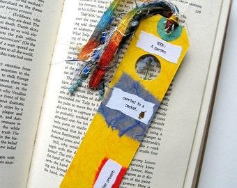 Book: A garden - Earth Bookmark - handmade paper, pressed flower, forget me not, book lover, reader, librarian, teacher gift, graduation