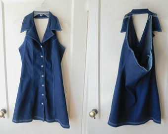 Vintage 90s Button Down Denim Babydoll Halter Dress Busty Size Small