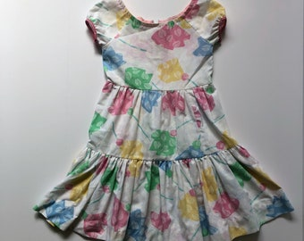 1980's Pastel Floral Tiered Dress (4t)