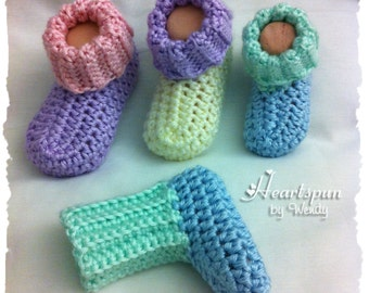 ANY COLOR Ribbed Baby Bootie Socks for Boys or Girls, 3 Sizes.  Baby booties, baby socks, baby boy, baby girl, baby shoes