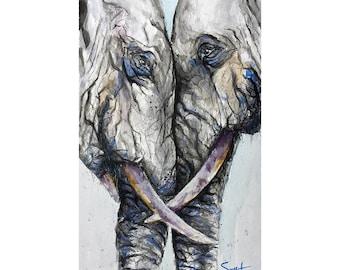 ELEPHANT PRINT - elephant art, watercolor elephant gifts, elephant painting, elephant decor, elephant wall art, elephant lover gift