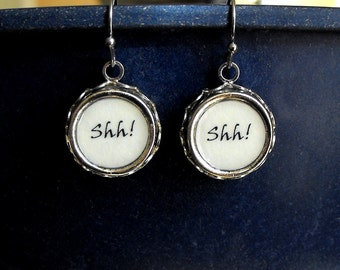 SHH! Librarian Earrings Literary Library Themed Jewelry