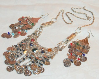 Boucle d'oreille et collier Dangle gitane vintage Set pièces Tribal Belly Dancing Boho