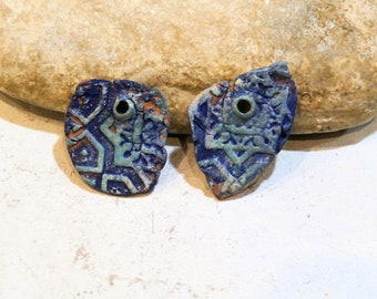 2 charms for earrings, terra cotta, crude earth, tribal ethnic style, rust patina, supply for earrings