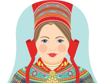 Sami Wall Art Print featuring culturally traditional dress drawing in a Russian matryoshka nesting doll shape