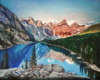 Moraine Lake in Banff National Park, Canada. Matted Print from original painting By Artist, Roseann Madia
