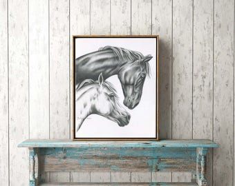 "ORIGINAL Charcoal Drawing of Horses, 18""x24"" White Horse Art, Wild Horses Sketch, Horse Drawing, Charcoal Horse, Wild Horse Art, Horse Decor"