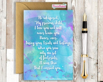 Footprints in the Sand final verse - Beautiful Watercolour card